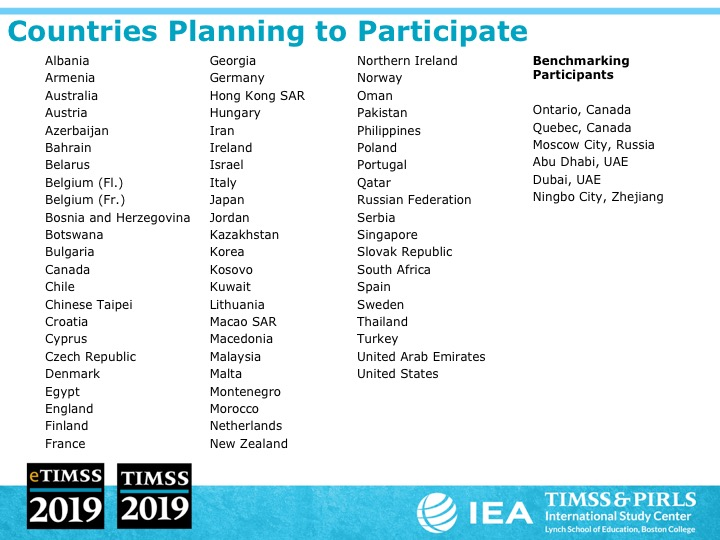 participating countries in TIMSS19